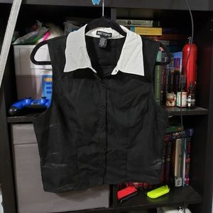 Black no sleeve button up